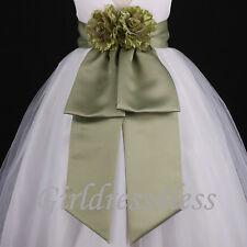 Sage Green Sash Wedding Flower Girl Bridesmaid Dress Bow 12M 18M 2 4 6 8 10 12