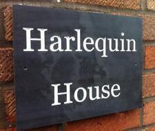 large deep engraved v carved slate house sign name number plaque personalised