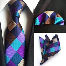 Men Silk Tie Set Blue Purple Plaids Checks Neck Tie Necktie Pocket Square Set