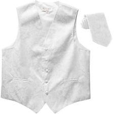 New Men's Formal Vest Tuxedo Waistcoat_necktie paisley pattern wedding white