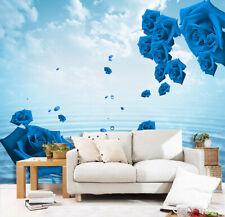 3D Bleu Rose Lac 16 Photo Papier Peint en Autocollant Murale Plafond Chambre Art