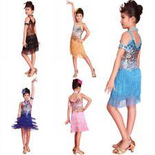 Kids Girl Tasseled Ballroom Latin Dancewear Party Dance Sequined Dress Costumes