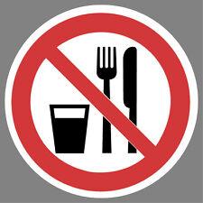Essen und Trinken verboten Aufkleber Sticker Schild Hinweis Verbotsschild