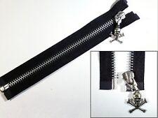 Zip, Zipper, Small Skull Puller, Open End, Metal, YKK, Black