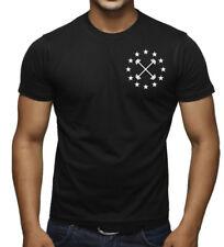 Men's Barbell Star Emblem Black T Shirt Workout Fitness Gym Bodybuilding V397