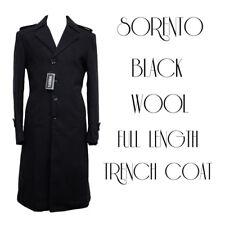SORENTO Mens Boys Black Wool Full Length Trench Coat Dapper GQ Fashion Business