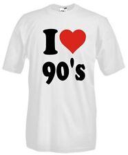 T-Shirt Girocollo I love XF02 I love 90's Io amo gli anni 90 Rock music Vintage