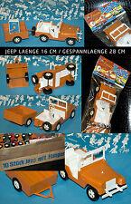 MANURBA PLASTIK JEEP + TRAILER * 28cm 60er-70er JAHRE ORANGE W. GERMANY