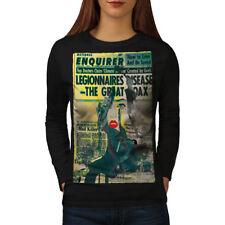 Newspaper Retro Vintage Women Long Sleeve T-shirt NEW | Wellcoda