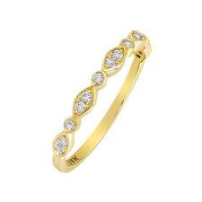 Women 2.2mm 14K Gold Wedding Band 0.17 cttw Diamond Pave Set Vintage Ring