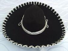 "Mexican Mariachi Hat Black/Silver 17"".Sombrero Mariachi Negro/Plata de Mexico"