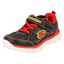 Niños Mini Dash Negro/Rojo Textil CIERRE ADHESIVO Zapatillas de Skechers Venta
