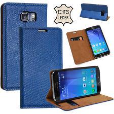 Cuero natural Funda para Apple Samsung Protectora Estuche Móvil Smartphone Azul
