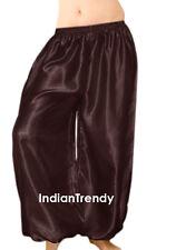 Coffee - Satin Harem Yoga Pant Belly Dance Costume Tribal Pantalons Trouser Boho