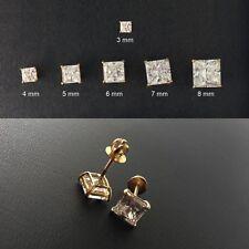 Gold Vermeil Screw-Back PRINCESS Cut Stud Earrings-Cubic-Gold Earrings/2 mm~8 mm