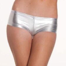1027 - Sexy metallic pvc silver hot pants low rise boy shorts Size 10/12
