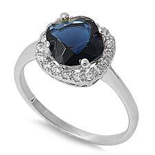 .925 Sterling Silver Cushion Cut Blue Sapphire & Clear CZ Ring Sz 5-9 NEW