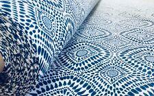 Azul Española Azulejo Tejido Floral Mandala Tapicería de Cortina Algodón 280cm