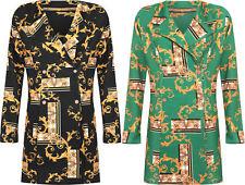 Plus Womens Baroque Retro Print Blazer Dress Ladies Long Sleeve Stretch Bodycon