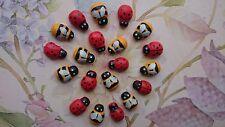 Mixed Tiny wooden Bees and Ladybird, Ladybug Embellishment, Craft, Scrapbooking