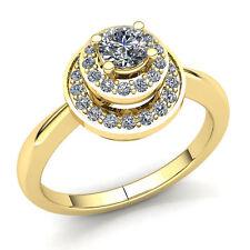 Genuine 2ct Round Cut Diamond Ladies Double Halo Engagement Ring 18K Gold