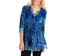 NEW One World Printed Velvet 3/4 Sleeve Sequin Trimmed Empire Waist Top in Blue