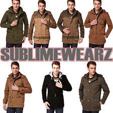 Eskaay Mens Multi Pocket Zip Up Hoodie Slim Fit Button Jumber Jacket Overcoat