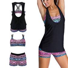 Bohemian Womens Swimwear Push Up Tankini Swimsuit Coverup 3 Piece Beach Wear