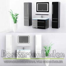 MIDORI© Badmöbel Set Waschbecken Badezimmer 70 cm Hochglänzend Spiegel LED Touch