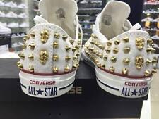 Converse All Star Bianche basse personalizzate con borchie oro a punta più tesch