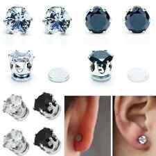 1 Paar Magnetische Ohrringe Strass Magnet Ohrstecker Ohrschmuck 6 mmØ klar schwa