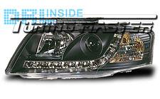 Fari Anteriori Dayline DRL Luci Diurne Audi A6 C5 01->04 Neri Omologati CE87