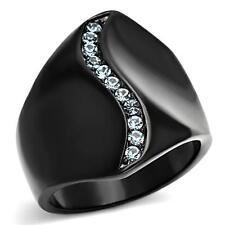 Black Stainless Steel Aquamarine Aqua Blue Topaz CZ Crystal Wide Journey Ring