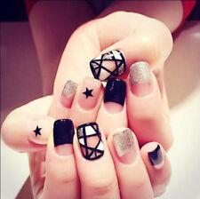24pcs Black Curved Sliver False Nails Long Square Full Artificial Star Designs