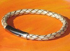 Ladies / mens 5mm Cream braided leather & steel bracelet by Lyme Bay Art.
