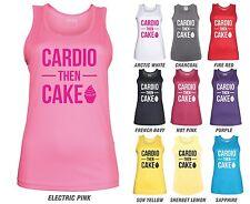 CARDIO THEN CAKE Workout Vest - JC015 - Gym Fitness Funny Joke Sweating
