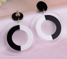 New Pair Retro Black White Large Dangle Earrings Hoop Stud Mod Ska UK Seller E74