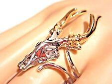 DEER SKULL RING gold & platinum plated antlers stag buck occult gothic 3V