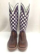 Men's Olathe Custom Tall Top Boots, Purple/White Checker Top, Style 0548A