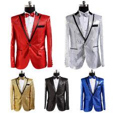 Men Sequin Jacket Suit Blazer Cabaret Carnival Fancy Dress Outfit Stage Clothing