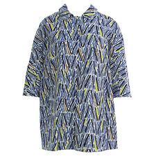 MARINA RINALDI Women's Blue Fatale Collared Printed Jacket $720 NWT