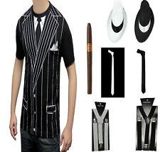 Adult Vintage Gangster Boss Fancy Dress Accessories T-Shirt,Hat,Braces,Tie,Cigar