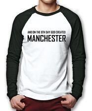 El octavo día Dios creó Manchester-Reino Unido Inglaterra hombres Béisbol Top muchos Tamaños