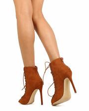 Newe Women Liliana Nikia-54 Faux Suede Corset Peep Toe Lace Up Stiletto Bootie