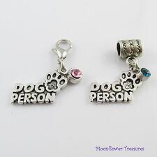 Dog Person Charm & Rhinestone Dangle Select Clasp and Colour
