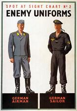 WB13 Vintage WW2 Spot German Airman Enemy Uniforms British WWII War Poster A4