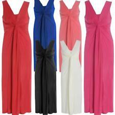 Womens Twist Knot Panel Grecian Boob Ladies Long Evening Maxi Dress 16-26