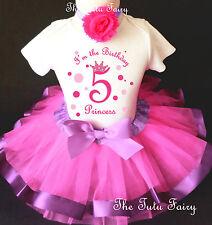 Princess Crown Hot Pink Lavender Girl 5th Fifth Birthday Tutu Outfit Shirt Set