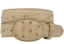 Kids Sand Ostrich Western Belt Dress Pattern Leather Unisex Round Buckle