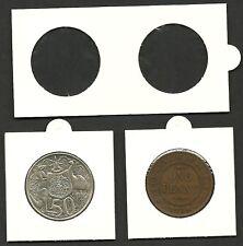 COIN HOLDERS 2 x 2 Staple Type 32mm 1d & 50c - Bulk Pack 100 Coin Holders